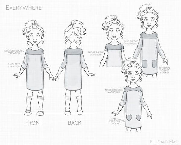 Everywhere Dress Sewing Pattern for Girls by Ellie and Mac Sewing Patterns