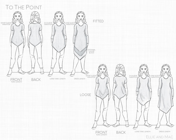 Womens To The Point Sewing Pattern Line Drawing for Ellie and Mac Sewing Patterns