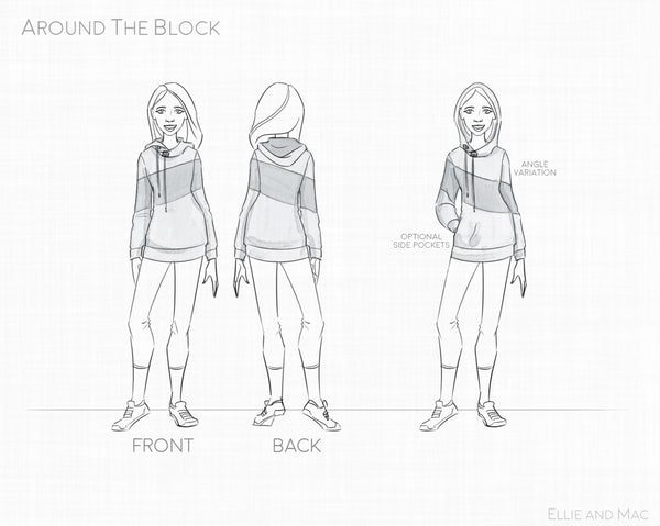 Around the Block Hoodie Pattern Line Drawing for Ellie and Mac Sewing Pattern
