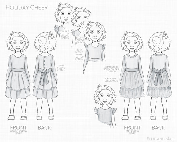 Holiday Cheer Girls Dress Sewing Pattern by Ellie and Mac Sewing Pattern