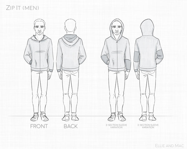 Mens Zip It Jacket Sewing Pattern By Ellie and Mac Sewing Patterns