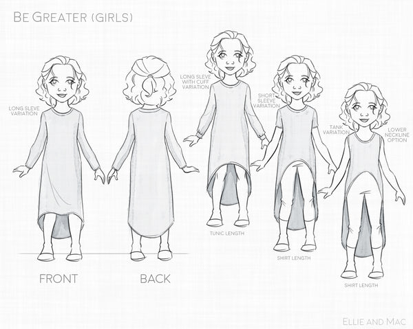 Be Greater Girls Sewing Pattern by Ellie and Mac Sewing Patterns