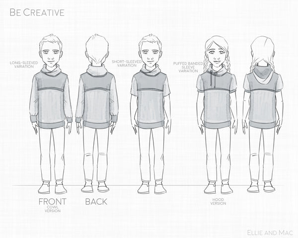 Be Creative Hoodie Sewing Pattern By Ellie and Mac Sewing Patterns