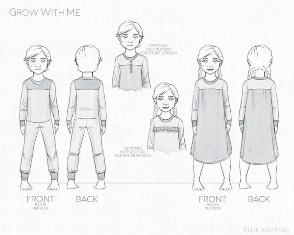 Free Grow With Me Pajama Sewing Pattern for girls and boys by Ellie and Mac Sewing Patterns
