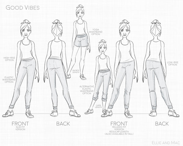 Good Vibe Women's Jogger Sewing Pattern by Ellie and Mac Sewing Patterns