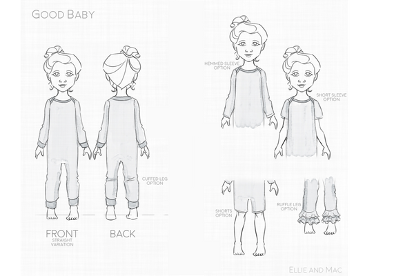 Good Baby Romper Pattern Line Drawing for Ellie and Mac Sewing Pattern