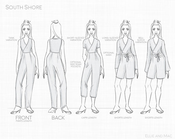 South Shore Womens Romper Sewing Pattern by Ellie and Mac Sewing Patterns