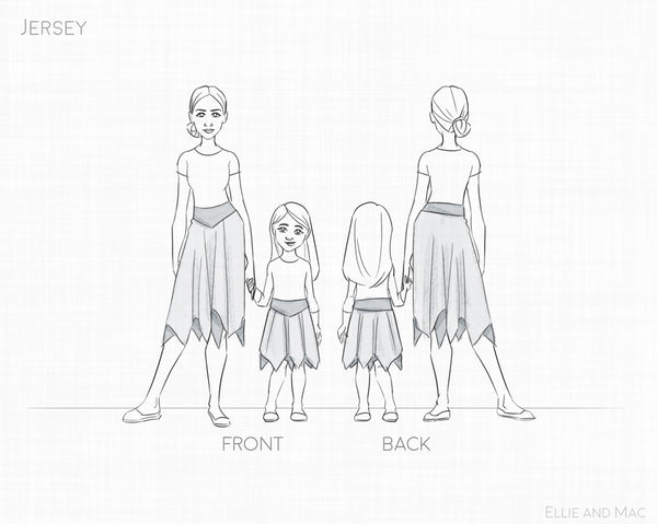 Jersey Skirt PDF Sewing Pattern by Ellie and Mac Sewing Patterns
