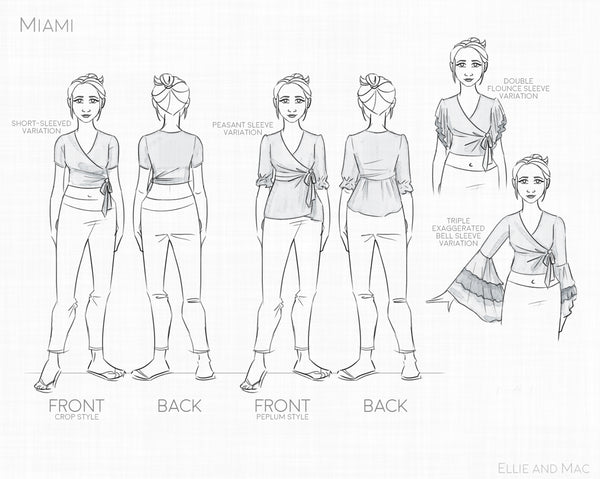 Miami Wrap Top Sewing Pattern for Women by Ellie and Mac Sewing Patterns