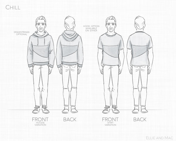 Chill Hoodie and Tee Sewing Pattern for Men by Ellie and Mac Sewing Patterns