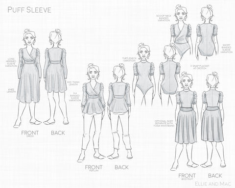 Puff Sleeve Peplum, Dress, and Bodysuit Sewing Pattern by Ellie and Mac Sewing Patterns