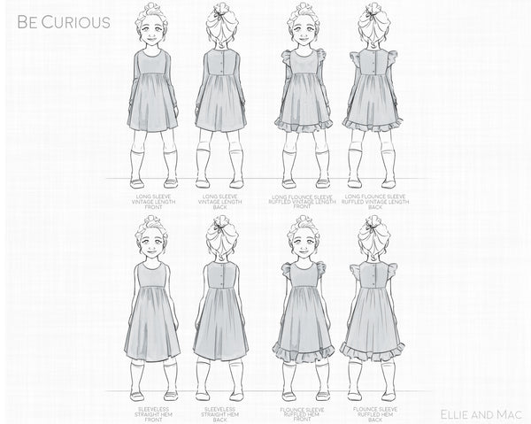 Be Curious Dress Sewing Pattern By Ellie and Mac Sewing Pattern