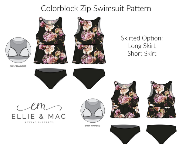 Colorblock Swimsuit Sewing Pattern with Zip option for women