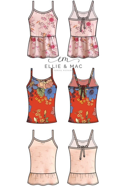 Floral Dreams Tank Top Sewing Pattern by Ellie and Mac Sewing Patterns
