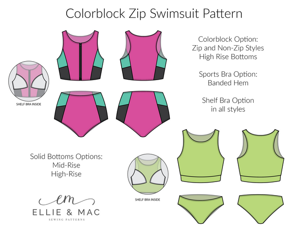 Colorblock Zip Swimsuit mix and match Sewing Pattern