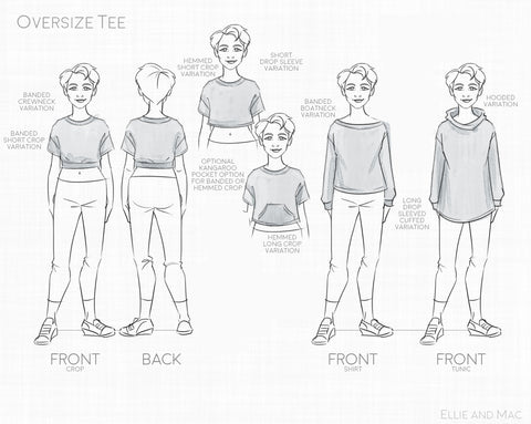 Oversized Tee Kids PDF Sewing Pattern Trendy patterns for kids