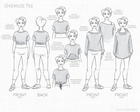 Trendy Sewing Pattern - Oversize Tee Sewing Pattern - Plus size sewing projects