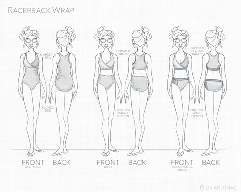 Racerback Wrap Swimsuit Bikini and One Piece Sewing Pattern by Ellie and Mac Sewing Patterns