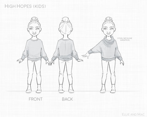 High Hopes Dolman Kid's Sewing Pattern by Ellie and Mac PDF Sewing Patterns