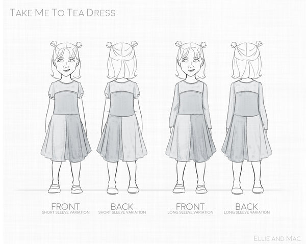 Take Me To Tea Girls Dress Sewing Pattern by Ellie and Mac Sewing Patterns