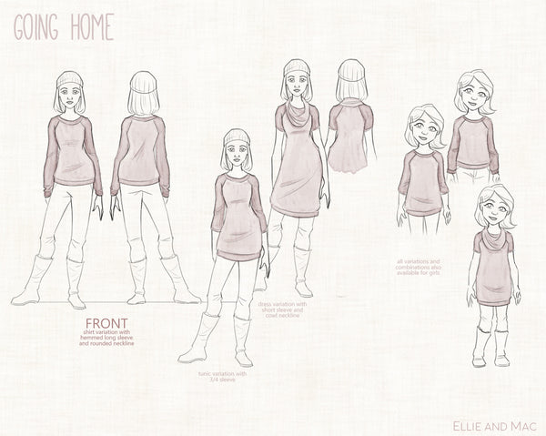 Going Home Women and Girls Sweater Sewing Pattern By Ellie and Mac Sewing Patterns