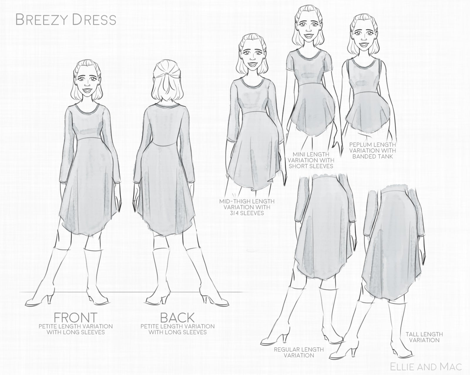Breezy Women\'s Dress Pattern – Ellie and Mac | Digital (PDF) Sewing ...