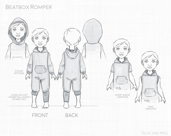 Beatbox Romper Sewing Pattern by Ellie and Mac Sewing Patterns