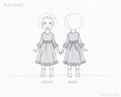 Play Date Girl's Dress Sewing Pattern Line Drawing for Ellie and Mac
