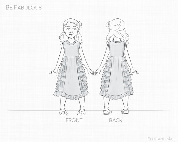 Be Fabulous Girl's Dress Sewing Pattern Line Drawing