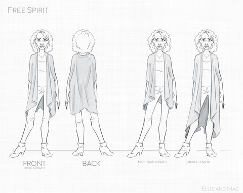 Free Spirit Kimono Sewing Pattern Line Drawing