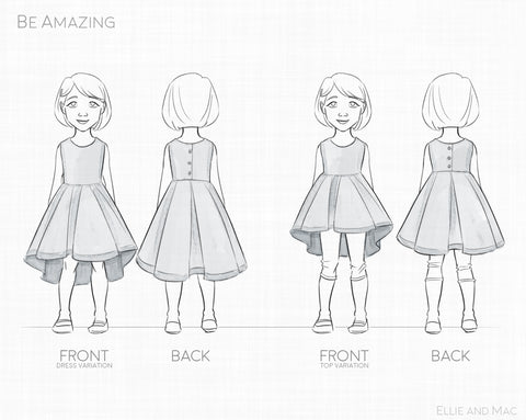 Be Amazing Top and Dress Sewing Pattern by Ellie and Mac Line Drawing