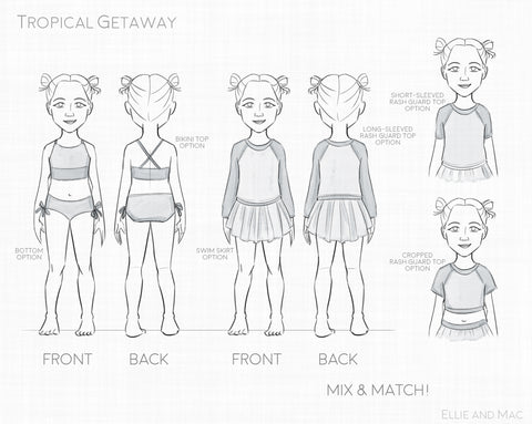 Tropical Getaway Swimsuit Sewing Pattern Line Drawing by Ellie and Mac