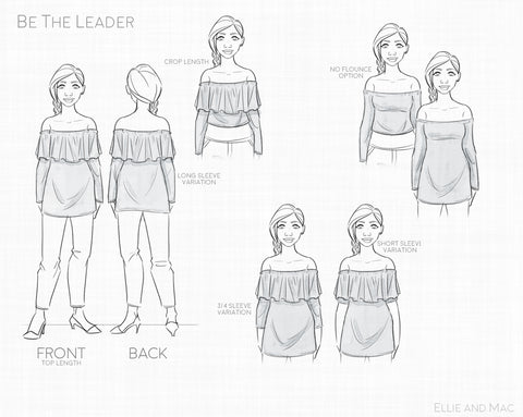 Be The Leader Top Line Drawing by Ellie and Mac Sewing Patterns