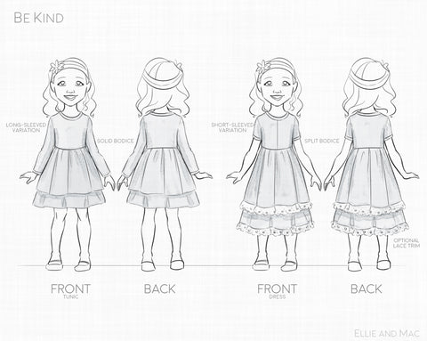 Be Kind Dress and Tunic Sewing Pattern by Ellie and Mac Line Drawing