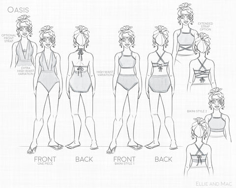 Women's Oasis Swimsuit PDF Sewing Pattern Line Drawing By Ellie and Mac