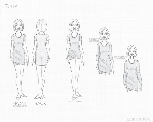 Womens Tulip Dress & Tunic Sewing Pattern Line Drawing for Ellie and Mac Patterns
