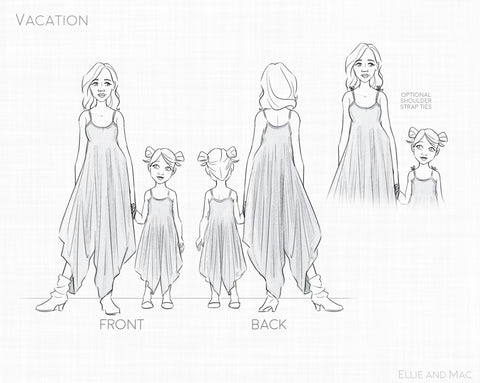 Vacation Romper Line Drawing for Ellie and Mac Sewing Patterns