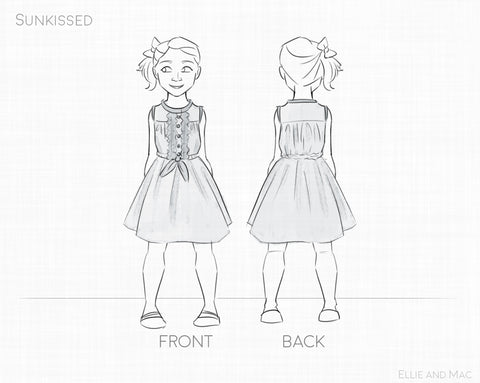 Sunkissed Dress Pattern Line Drawing by Ellie and Mac