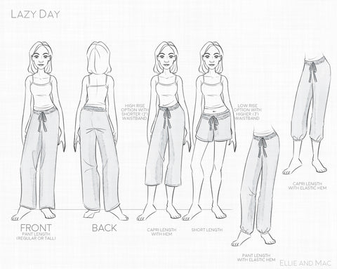 Feel Pretty Pants Pattern Line Drawing for Ellie and Mac Sewing Patterns