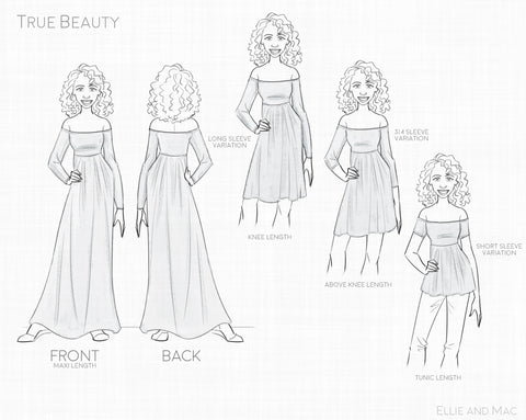True Beauty Pattern Line Drawing for Ellie and Mac Sewing Patterns