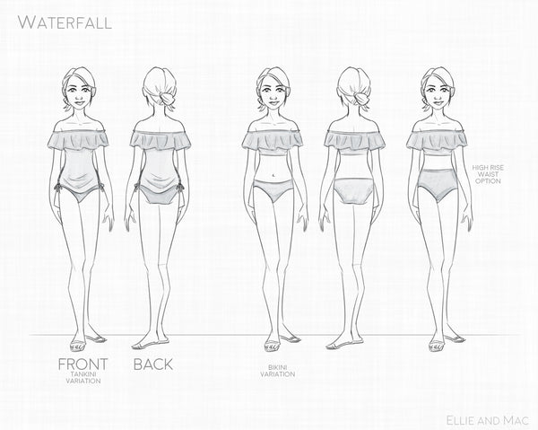 Women's Swim Pattern Waterfall Line Drawing for Ellie and Mac Sewing Patterns