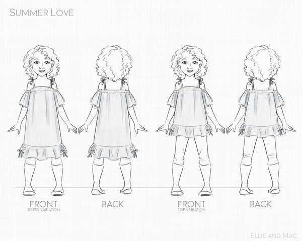 Summer Love Dress and Top Line Drawing for Ellie and Mac Sewing Patterns