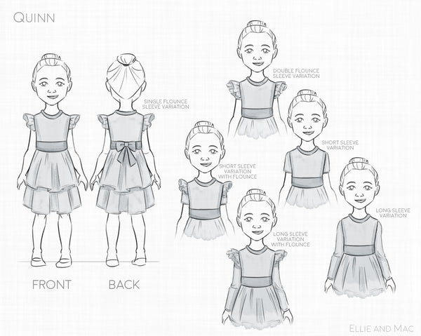 Girl's Quinn Dress Sewing Pattern Line Drawing for Ellie and Mac