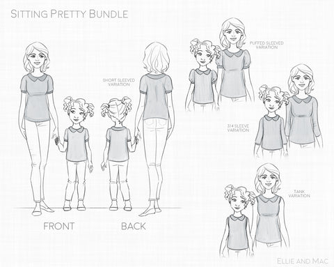Sitting Pretty Sewing Pattern Line Drawing for Ellie and Mac Sewing Patterns