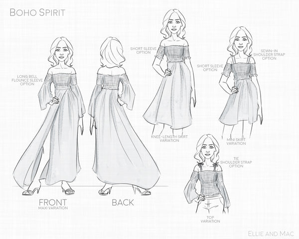 Boho Spirit Maxi Dress Sewing Pattern Line Drawing