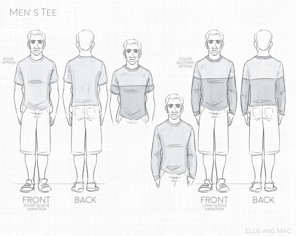 Men's Basic Tee Sewing Pattern Line Drawing for Ellie and Mac Sewing Patterns
