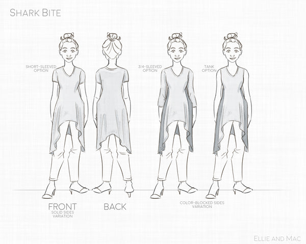 Shark Bite Women's Top Pattern Line Drawing