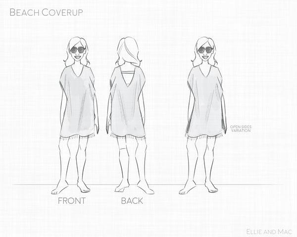 Beach Cover Up Pattern Line Drawing For Ellie and Mac