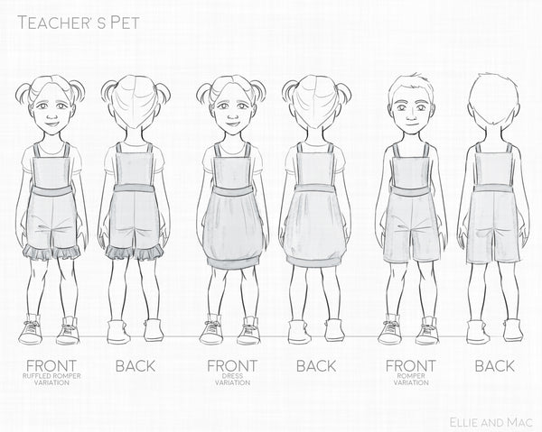 Teacher's Pet Sewing Pattern Line Drawing