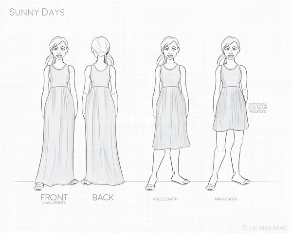 Sunny Day Dress Line Drawing